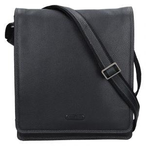 Pánská celokožená taška přes rameno Katana Liver – černá 14549