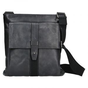 Unisex kožená taška přes rameno Lagen Apolon – tmavě modrá 14364