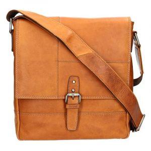 Pánská kožená taška přes rameno Lagen Oliver – hnědá 14258