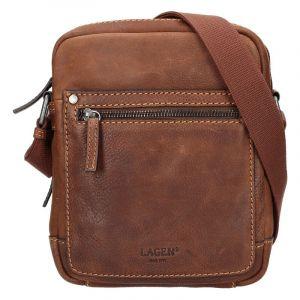 Pánská kožená taška přes rameno Lagen Dennis – světle hnědá 14173
