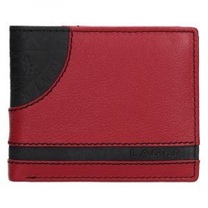 Pánská kožená slim peněženka Lagen Rhys – černo-červená 13654