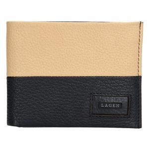 Pánská kožená slim peněženka Lagen Danny – černo-béžová 13651