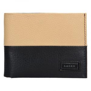 Pánská kožená peněženka Lagen Will – černo-béžová 13649