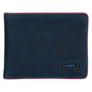 Pánská kožená slim peněženka Lagen Kieran – modrá 13648