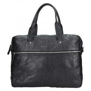 Pánská kožená business taška Lagen Derick – černá 13616