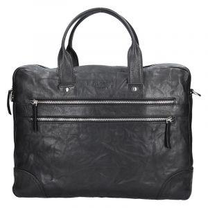 Pánská kožená business taška Lagen Edgar – černá 13614
