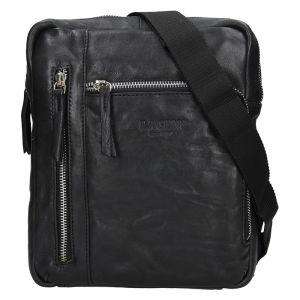 Pánská kožená taška přes rameno Lagen Rudolf – černá 13610
