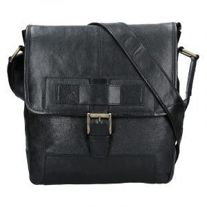 Pánská kožená taška přes rameno Lagen Pascal – černá 13607