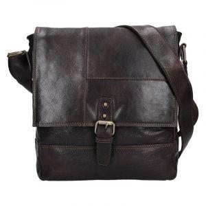 Pánská kožená taška přes rameno Lagen Pascal – tmavě hnědá 13606