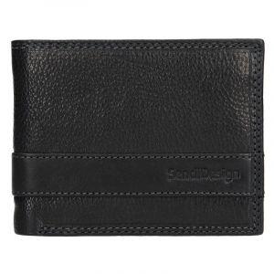 Panská kožená slim peněženka SendiDesign Rafael – černá 12949