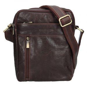 Panská kožená taška přes rameno SendiDesign Gidon – hnědá 12944