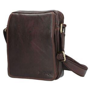 Pánská kožená taška přes rameno SendiDesign CT005 – hnědá 12677