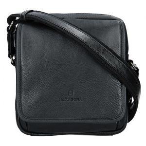 Pánská kožená taška přes rameno Hexagona 129898 – černá 11655
