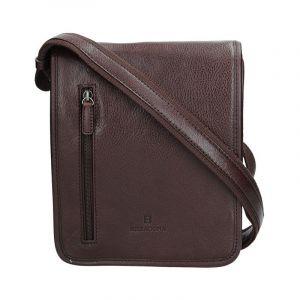 Pánská kožená taška přes rameno Hexagona 129483 – tmavě hnědá 11503