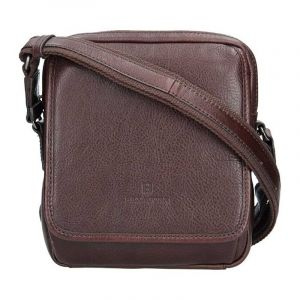 Pánská kožená taška přes rameno Hexagona 129898 – tmavě hnědá 11411