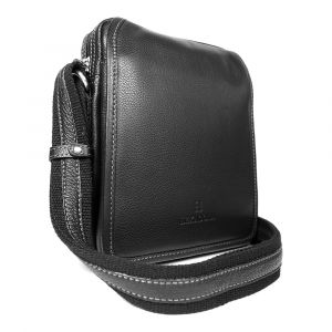Pánská kožená taška přes rameno Hexagona 469565 – černá 11167