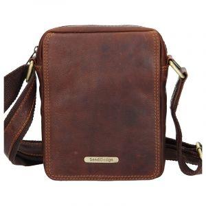 Pánská kožená taška přes rameno SendiDesign Nilson – hnědá 11082