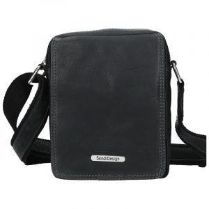 Pánská kožená taška přes rameno SendiDesign Nilson – černá 11081