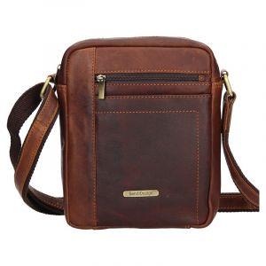 Pánská kožená taška přes rameno SendiDesign Marlon – hnědá 11076