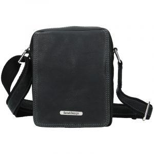 Pánská kožená taška přes rameno SendiDesign Patrik – černá 11073