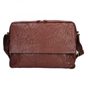 Pánská kožená taška přes rameno SendiDesign Boston – tmavě hnědá 11070