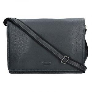 Pánská celokožená taška přes rameno Katana Pier – černá 11047