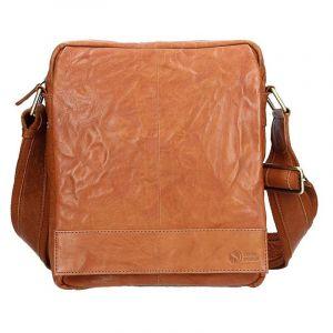 Pánská kožená taška přes rameno SendiDesign Vincent – světle hnědá 11034