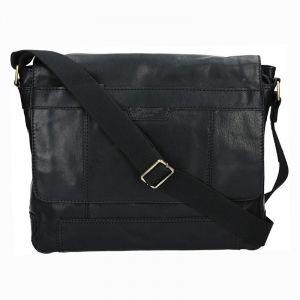 Pánská kožená taška přes rameno Lagen Alan – černá 1215