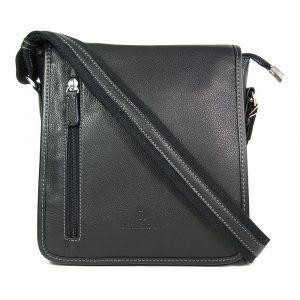 Pánská kožená taška přes rameno Hexagona 461326 – černá 190