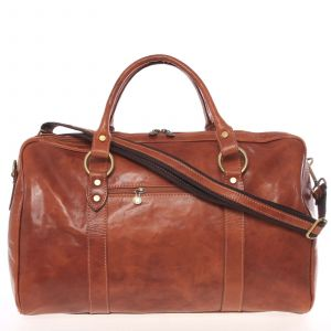 Velká cestovní kožená taška světle hnědá – ItalY Equado hnědá 138919