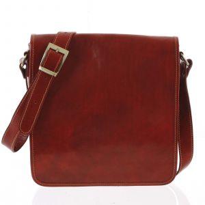 Pánská luxusní kožená taška přes rameno červená – ItalY Jamar červená 168681