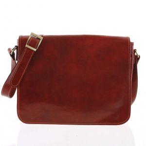 Větší pracovní kožená taška červená – ItalY Equado Achilles červená 168685