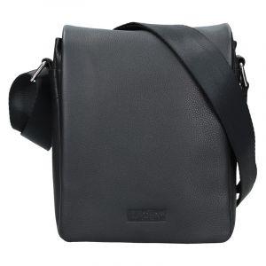 Pánská kožená taška přes rameno Lagen Dino – černá 17862