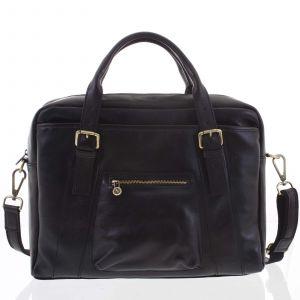 Kožená větší business taška černá – ItalY Fabio černá 148456