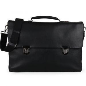 Strellson Pánská kožená taška přes rameno Garret 4010002345 – černá p48150