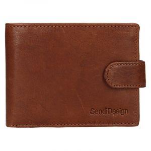 Pánská kožená peněženka SendiDesign Robert – koňak 17556