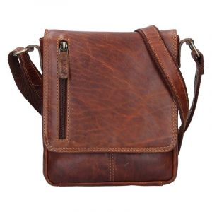 Pánská kožená taška přes rameno Lagen Texas – hnědá 17239