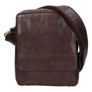 Pánská kožená taška přes rameno SendiDesign Petrson – tmavě hnědá 17440