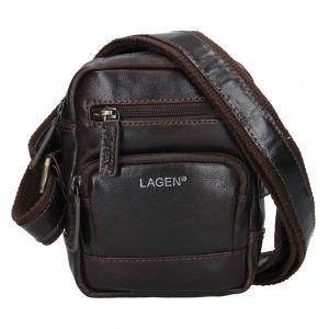 Pánská kožená taška přes rameno Lagen Polen – hnědá 15346