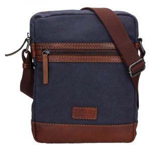 Pánská taška přes rameno Lagen Bill – modro-hnědá 17141