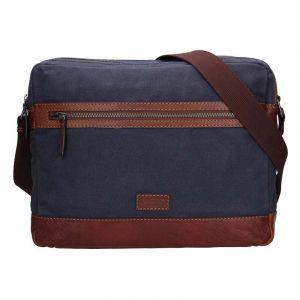 Pánská taška přes rameno Lagen Marlon – modro-hnědá 17138