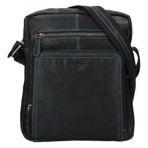 Pánská kožená taška přes rameno Lagen Lech – černá 16816