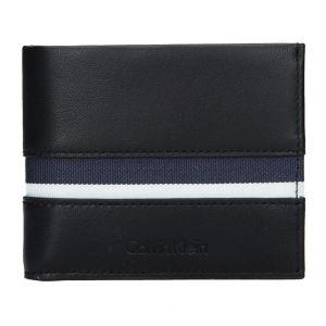 Pánská kožená slim peněženka Calvin Klein Alf – černo-modrá 15218