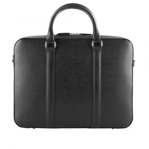 Kožená taška na notebook John&Paul – černá p12565