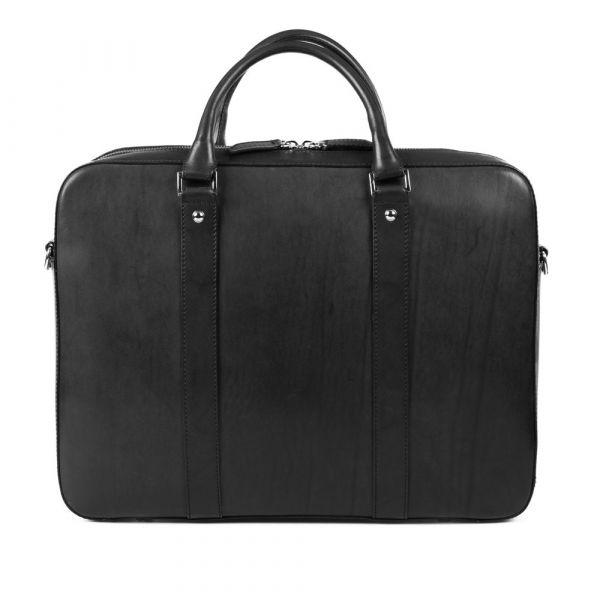 Výprodej: Kožená taška na notebook John & Paul – černá (vachetta) p6960