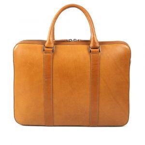 Výprodej: Kožená slim taška na notebook John & Paul – světle hnědá (vachetta) p6965