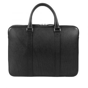 Výprodej: Kožená slim taška na notebook John&Paul – černá (vachetta) p6966