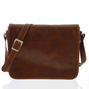 Větší pracovní kožená taška antukově hnědá – ItalY Equado Achilles hnědá 159904