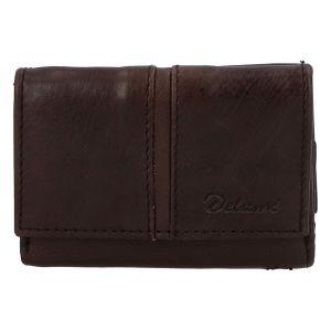 Kožená tmavě hnědá peněženka – Delami 9386 hnědá 258339