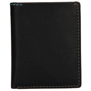 Pánská kožená slim peněženka Lagen Revo – černá 110230